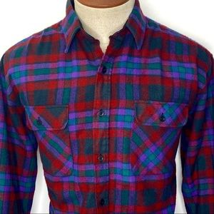 Vintage Coleman Plaid Flannel Shirt Size Large